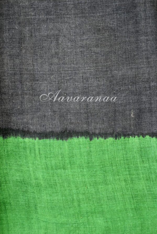 Green and black abstract border tussar saree-18352