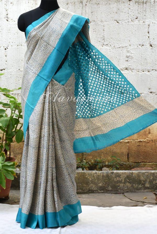 Grey and blue printed tussar saree-0