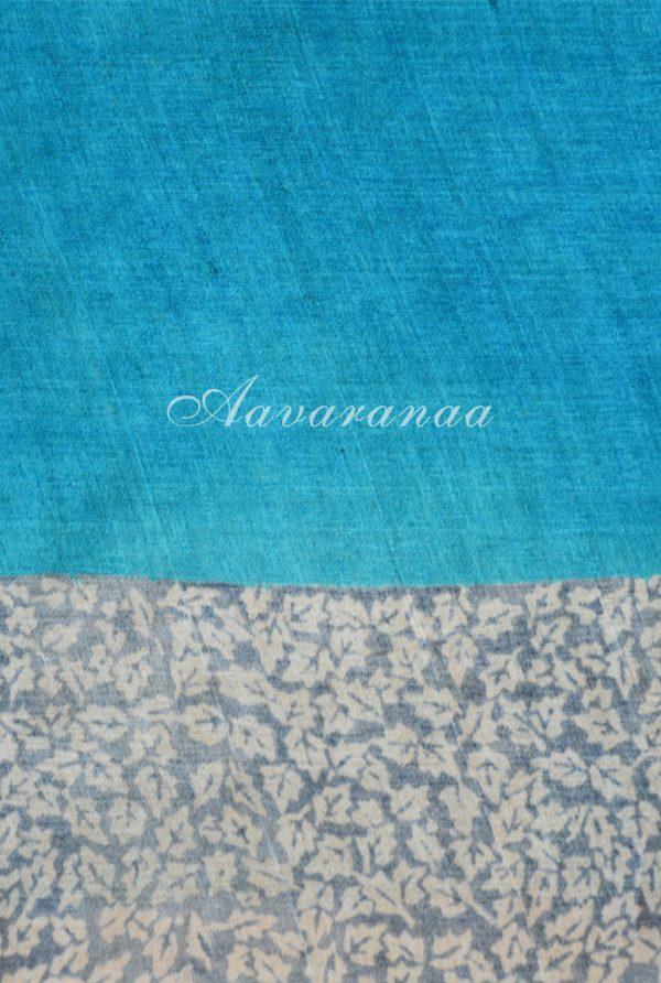 Grey and blue printed tussar saree-18365