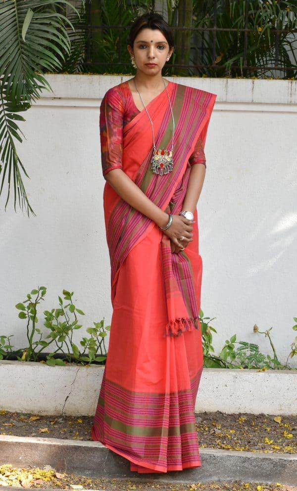Tomato red kancvhi cotton saree long border-0