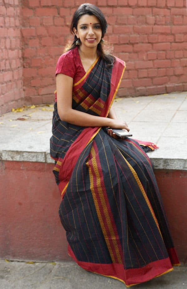Black kanchi cotton saree with red and mustard weaving-0