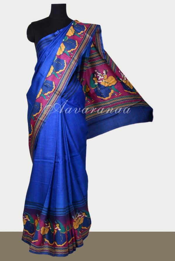 Blue tussar saree with doll print-0