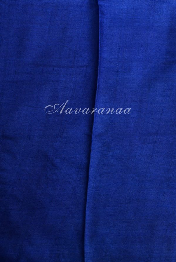 Blue tussar saree with doll print-18040