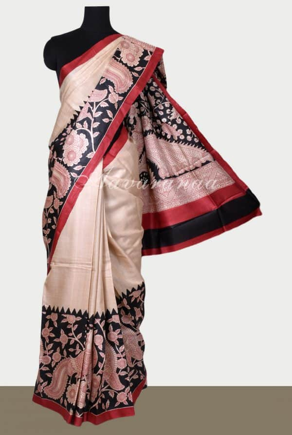 Beige tussar saree with peacock print-0