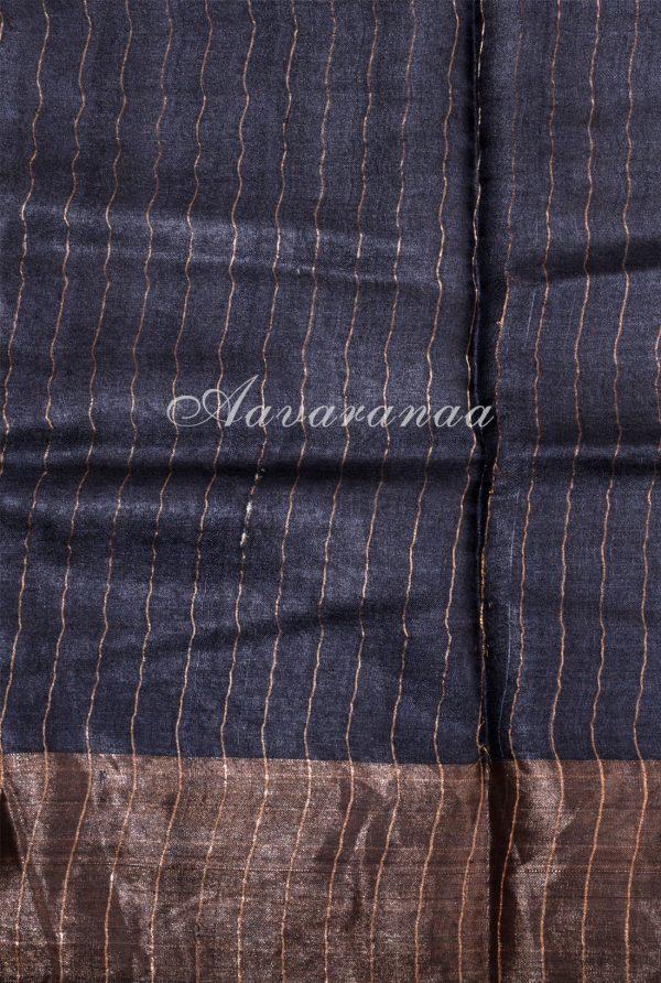 Maroon mango print zari border tussar saree-18180