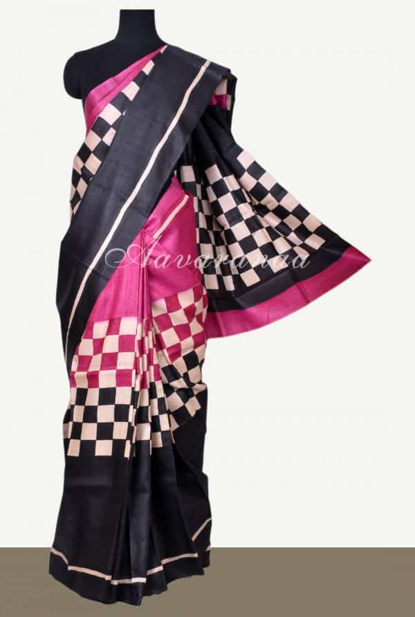 Pink and black checks tussar saree-0