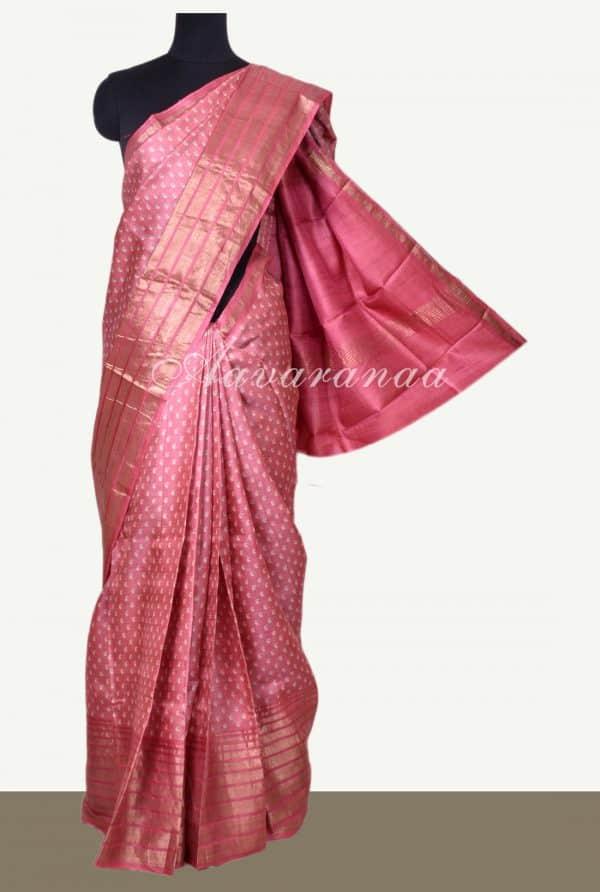 Pink mango print zari border tussar saree-0
