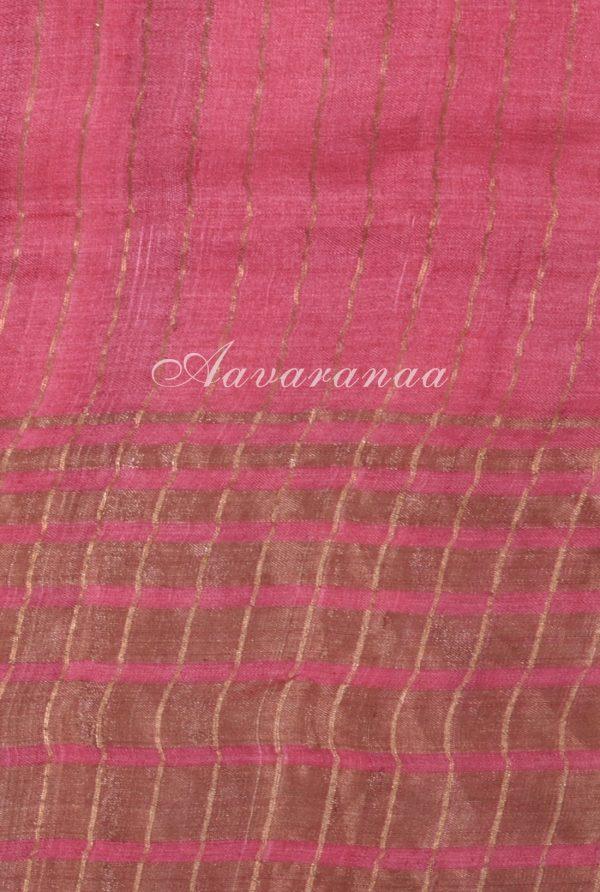 Pink mango print zari border tussar saree-18128