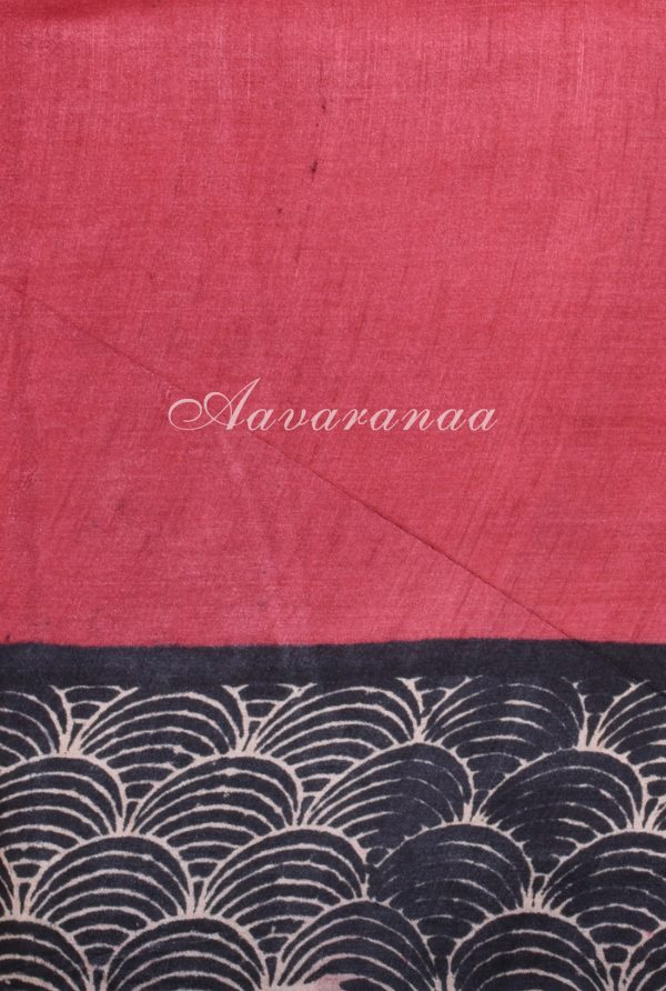 Black and beige geometric print tussar saree-18138