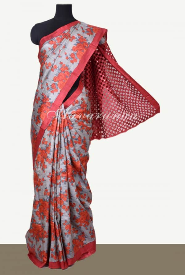 Grey tussar floral print saree with red cutwork pallu-0