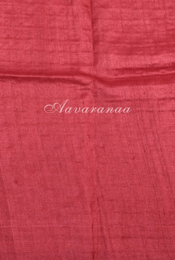 Grey tussar floral print saree with red cutwork pallu-18161