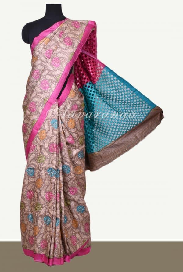 Brown floral print tussar saree with cutwork pallu-0