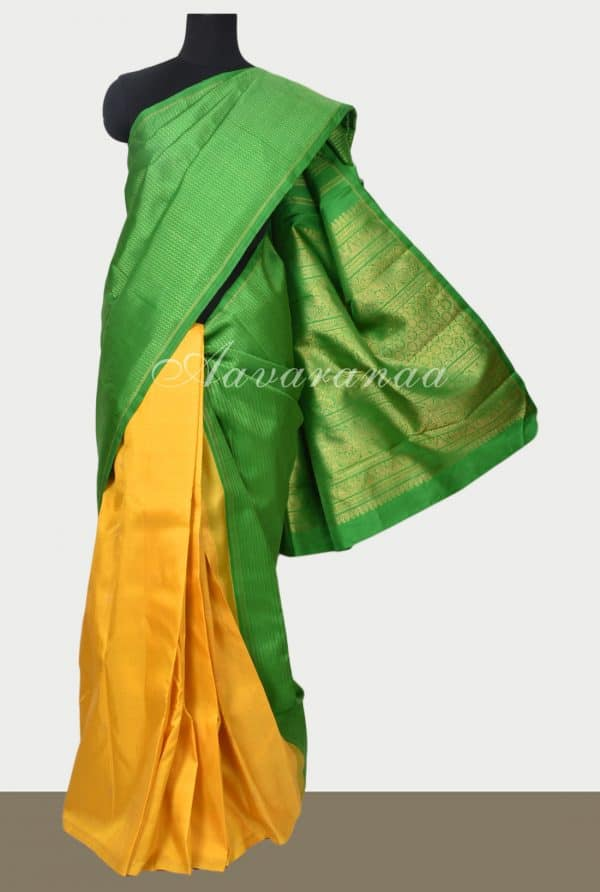 Green and yellow half and half kancheepuram silk saree-0
