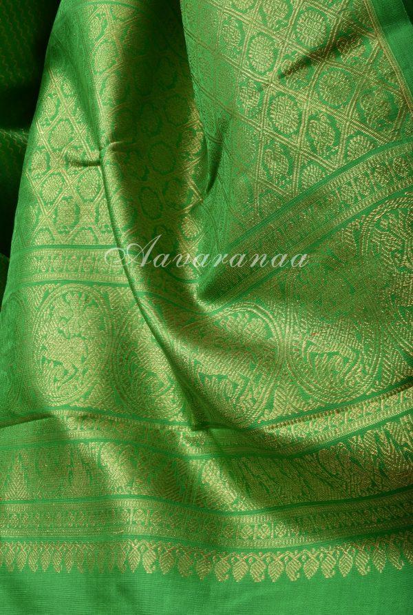 Green and yellow half and half kancheepuram silk saree-17140