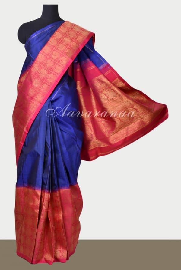 Blue kanchi silk saree with pink korvai border-0