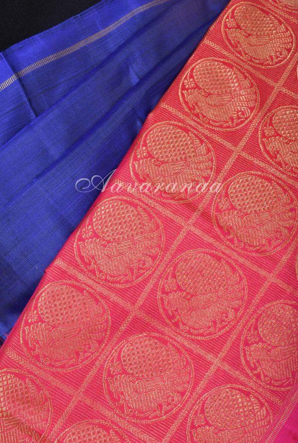 Blue kanchi silk saree with pink korvai border-17501