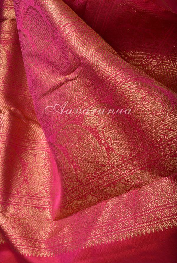 Blue kanchi silk saree with pink korvai border-17503