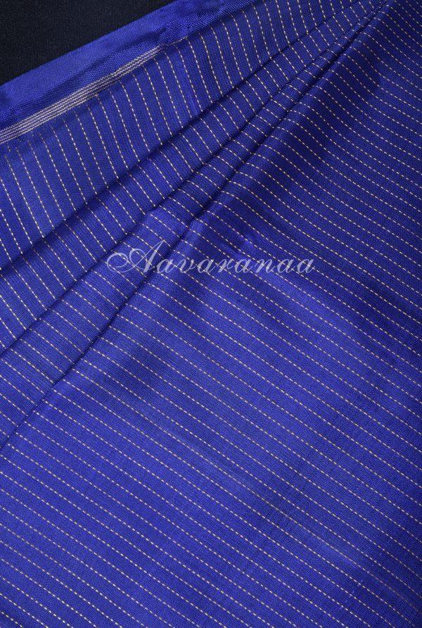 Navy blue and pink partly kanchipuram silk saree-17257