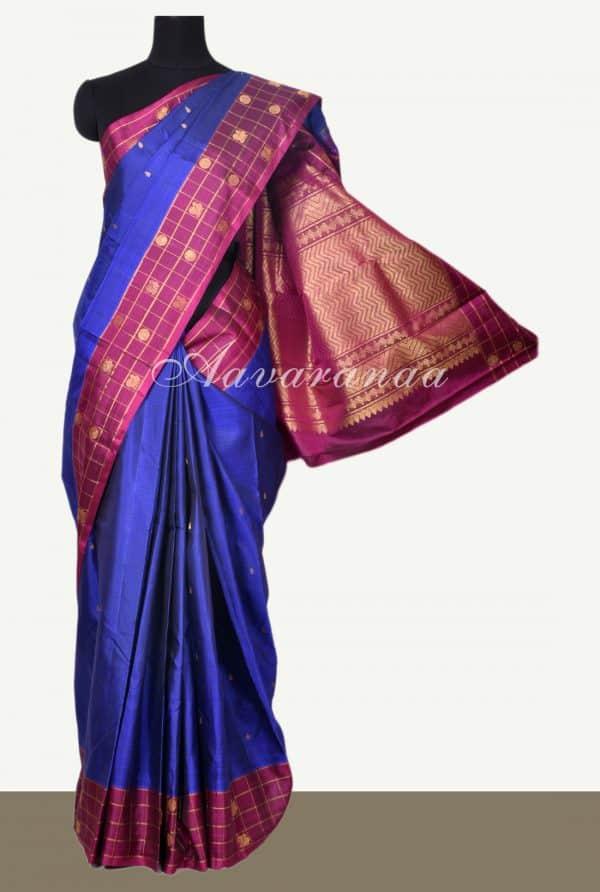 Royal blue kanchi silk with checks purple border-0