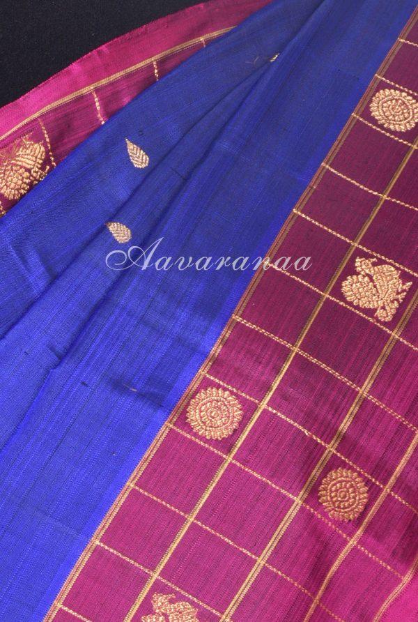 Royal blue kanchi silk with checks purple border-17612