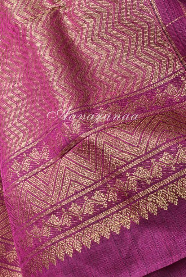 Royal blue kanchi silk with checks purple border-17611