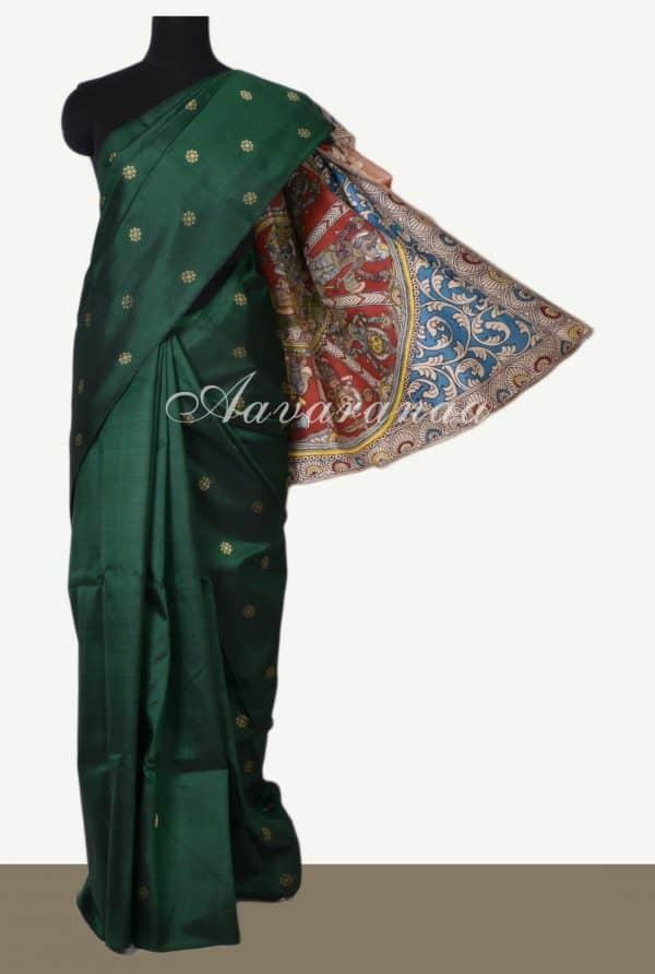 Bottle green kanchi silk saree with kalamkari pallu -0