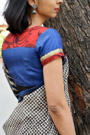 Blue silk blouse with red kalamkari -0
