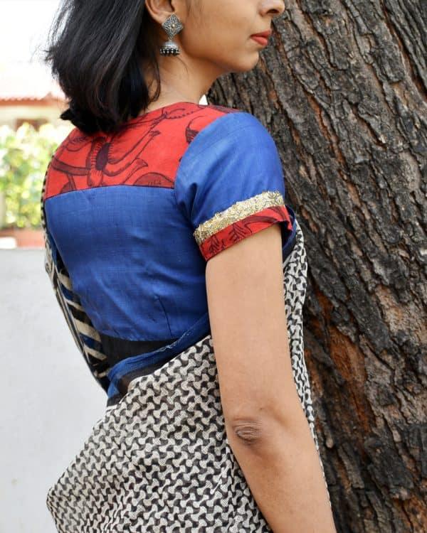 Blue silk blouse with red kalamkari -0