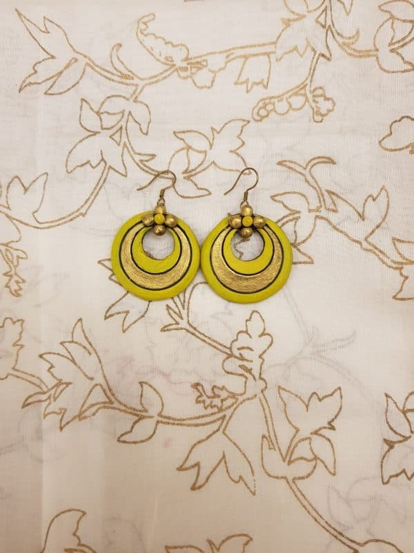 Yellow with gold terracotta earring-0