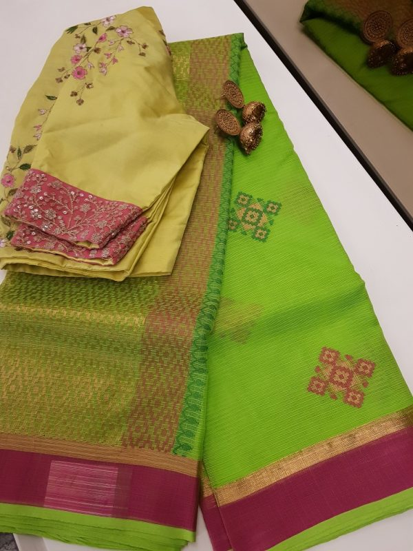 Green real zari kota saree with pink green butta-0