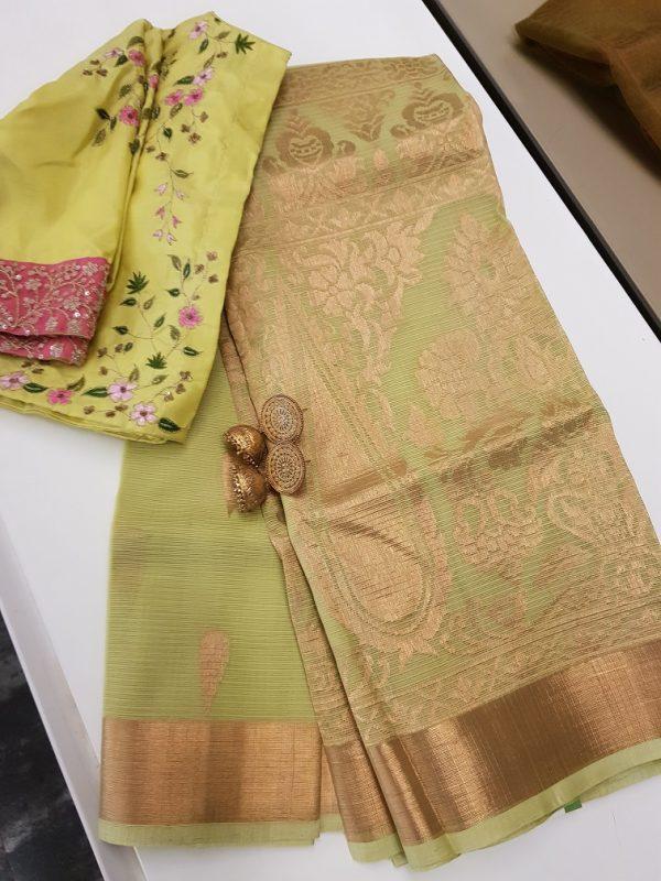 Pale Green real zari kota saree with gold zari butta-0