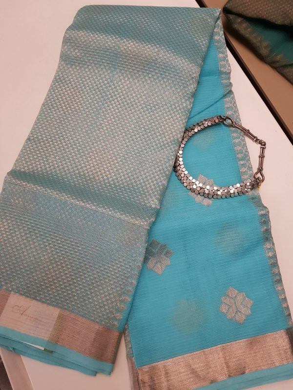 Blue real zari kota saree with silver zari butta-0