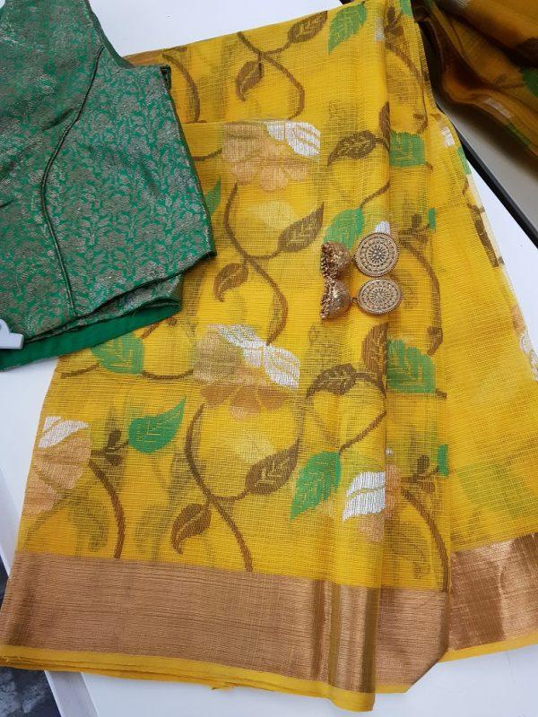 Golden yellow real zari kota saree with floral zari design -0