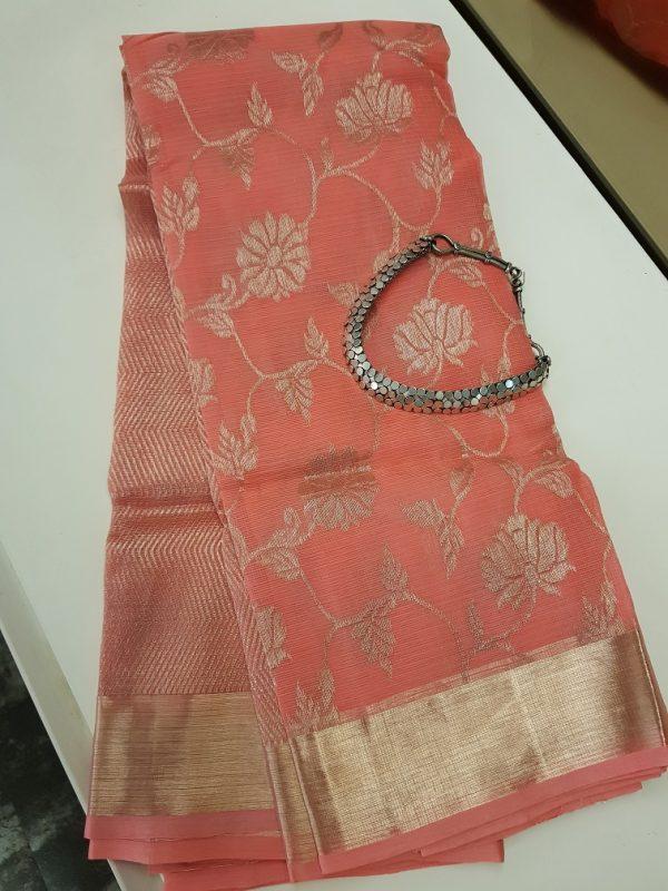 Peach real zari kota saree with floral zari design -0