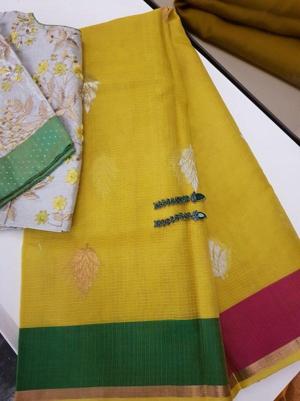 Yellow real zari kota saree with ganga jamuna border -0