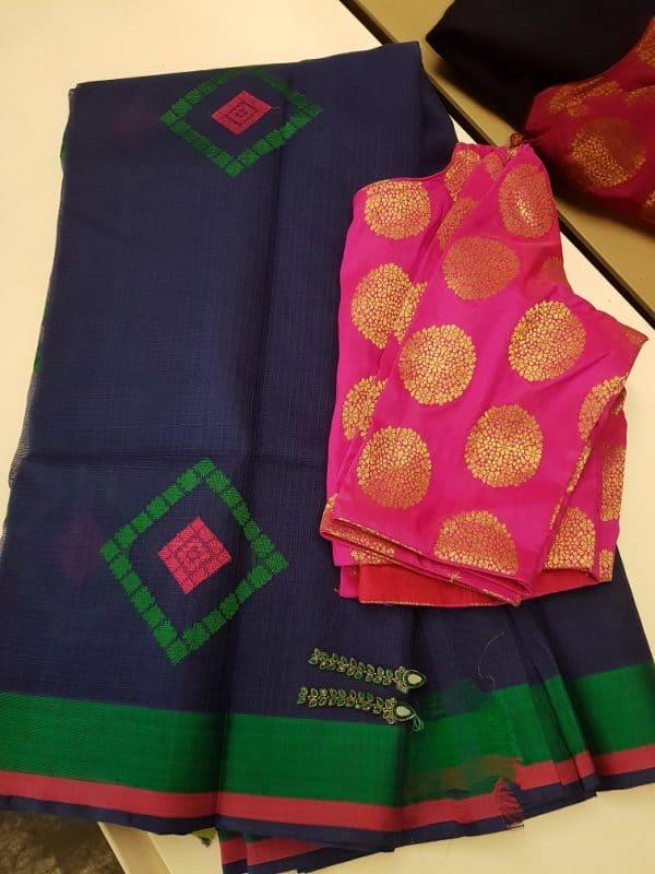 Navy real zari kota saree with thread weaving-0