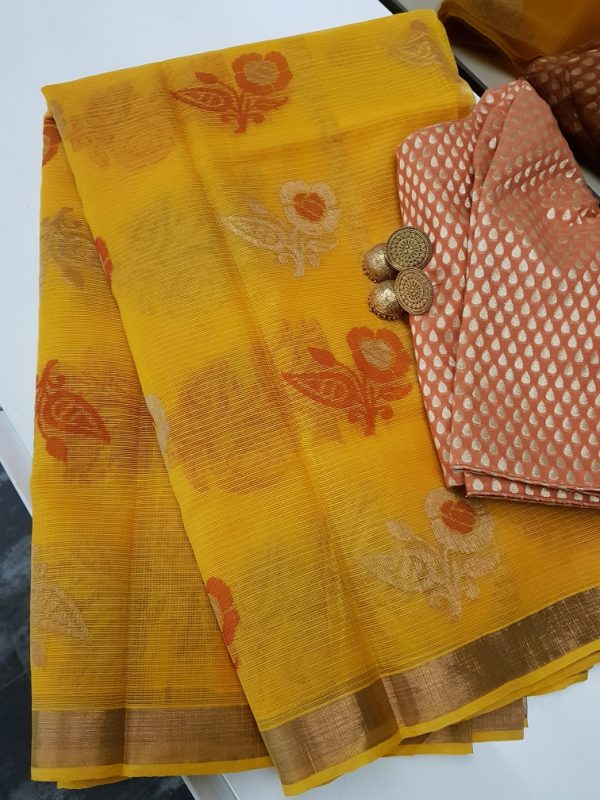 Yellow real zari kota saree with orange zari butta-0