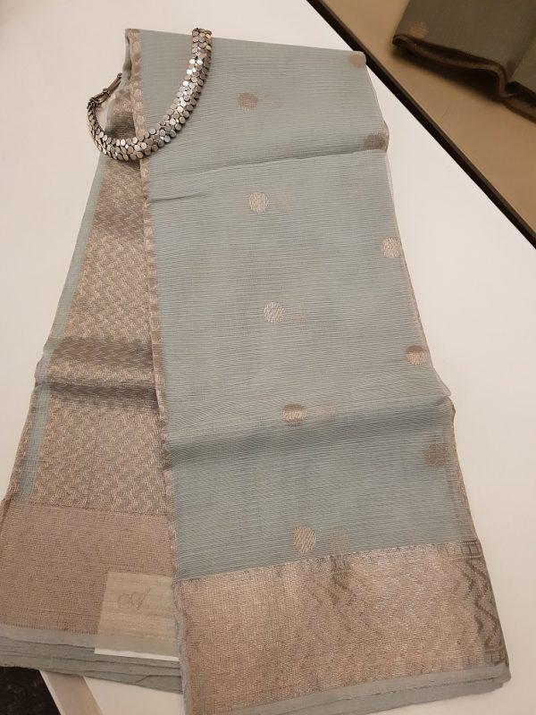 Grey real zari kota saree with silver zari butta-0