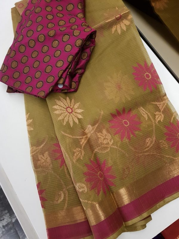Green real zari kota saree with pink and gold zari butta -0