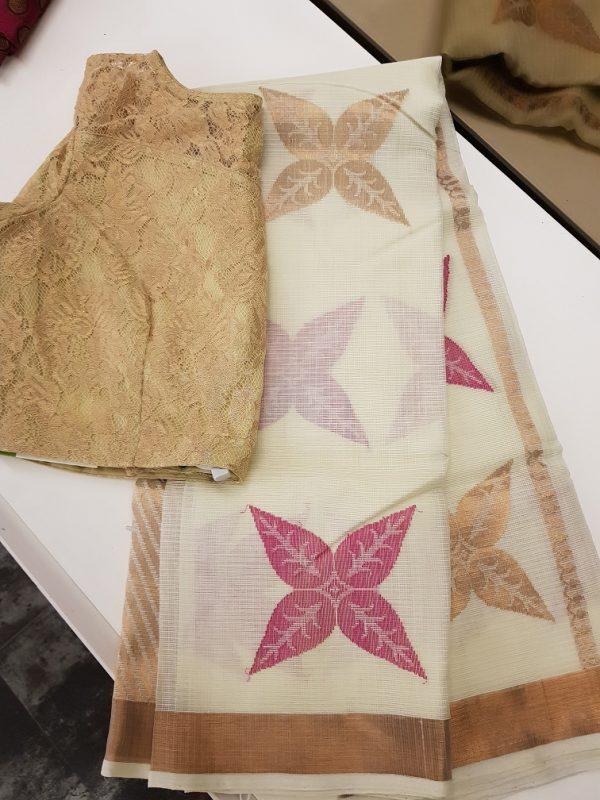 Offwhite real zari kota saree with pink and gold zari butta-0