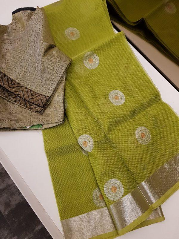 Green real zari kota saree with silver and gold zari butta-0
