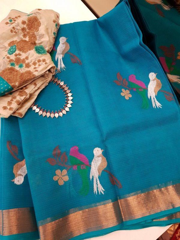 Blue real zari kota saree with pink and green thread weaving-0