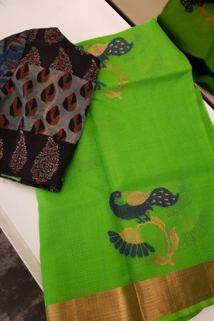Green real zari kota saree with blue and gold peacock zari butta -0