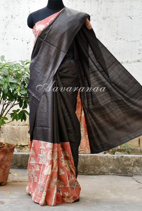 Black tussar with brown Kalamkari Saree-0