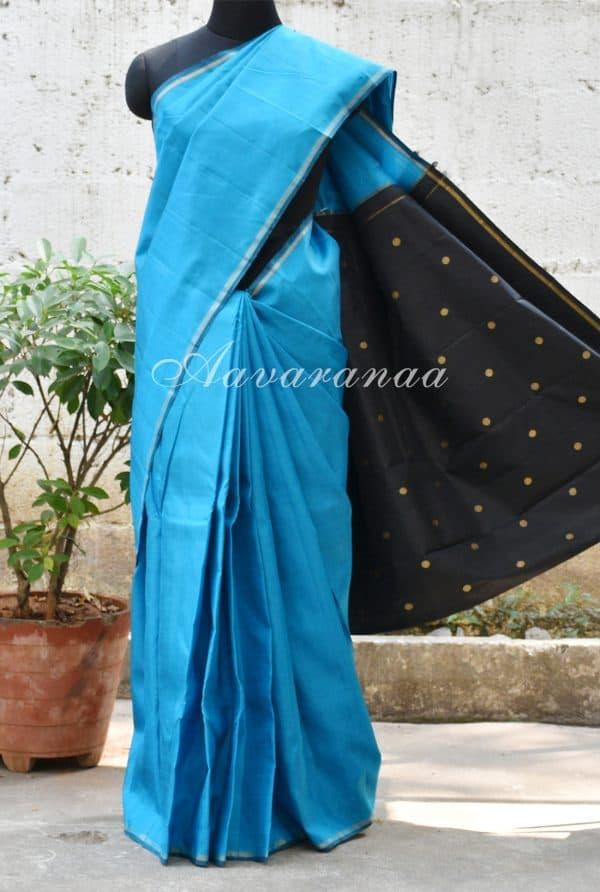Blue and black kanchipuram silk saree-0