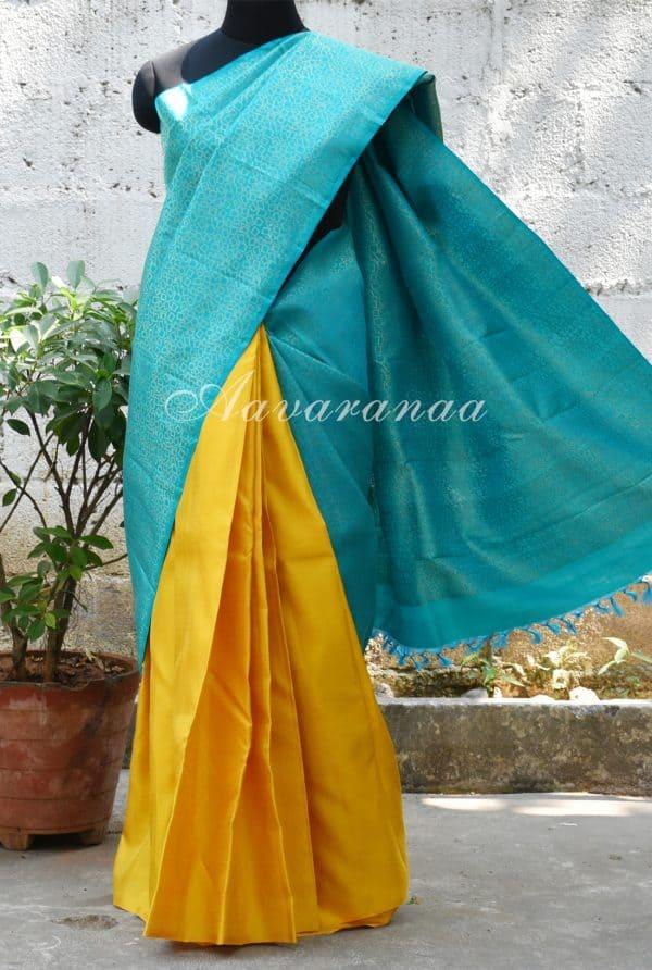 Teal blue and yellow half nad half silk saree-0