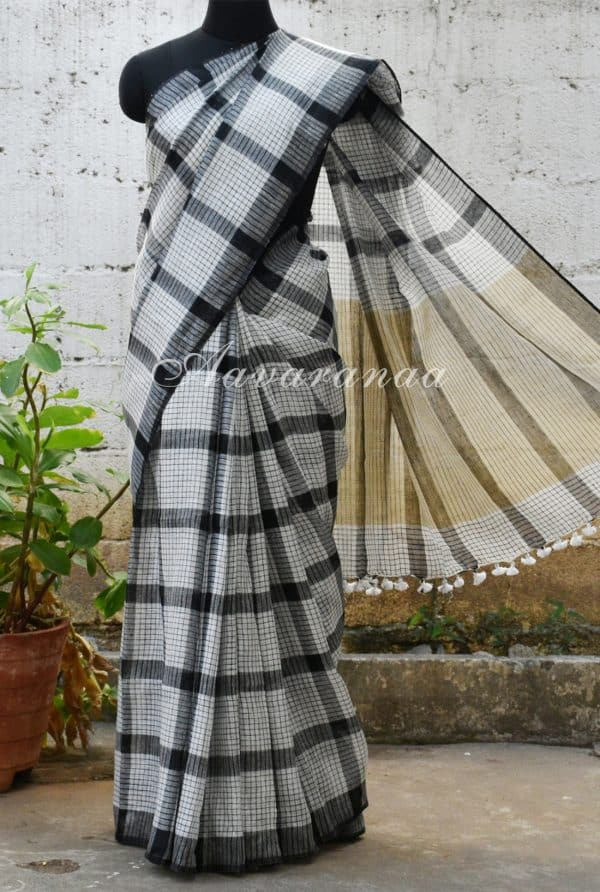 White and black checks linen saree-0