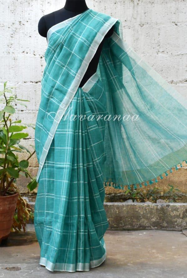 Teal blue checks linen saree-0
