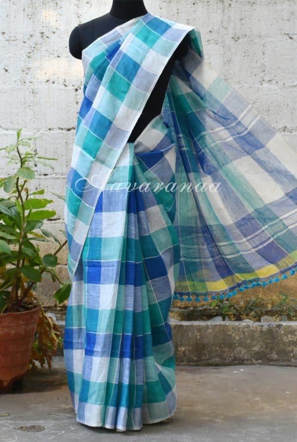 Blue and white checks linen saree-0