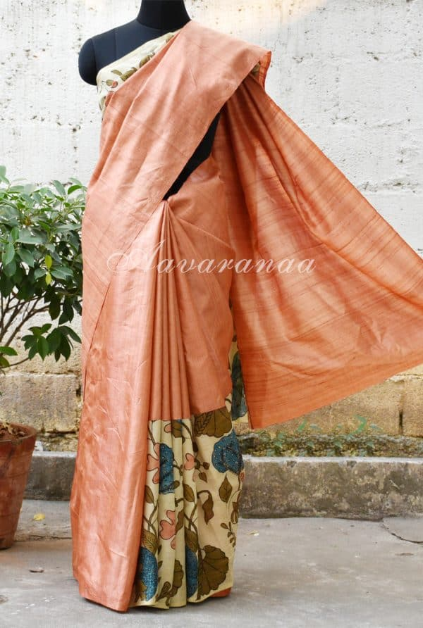 Peach tussar with Kalamkari Saree-0